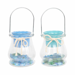 Filled Bead Glass Tealight Holder