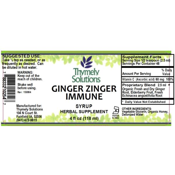 Ginger Zinger Immune 4oz
