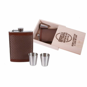 Leather Flask & Shot Glass