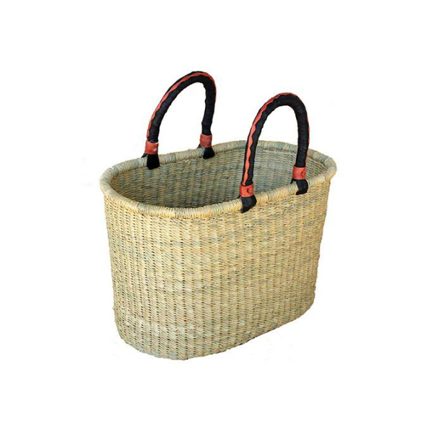African Market Oval Basket With Handles