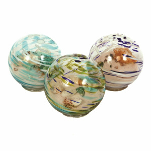 Glass Colored Shell Beach Orb