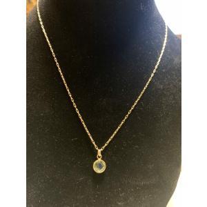 Teal Gold Bezel Necklace
